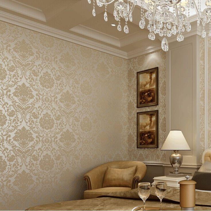 Роскошные золотые европейский гостиная нетканые обои металлические цветочные дамасской обои дизайн современных текстурированных стены рулон бумаги 10 м купить на AliExpress