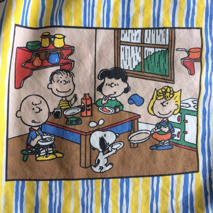 Vintage Snoopy Peanuts Twin Fitted Sheet Striped Woodstock Charlie Brown Fishing