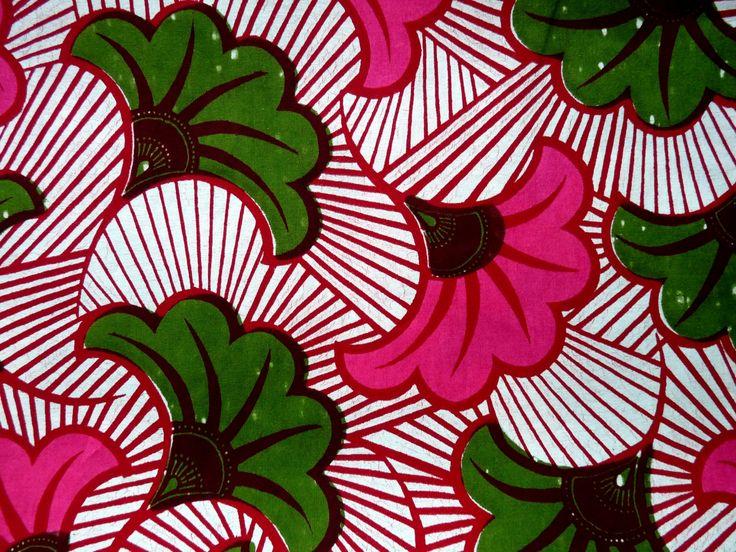 coupon tissu africain (wax) motifs ibiscus roses et verts : Tissus Habillement, Déco par bleu-fetiche