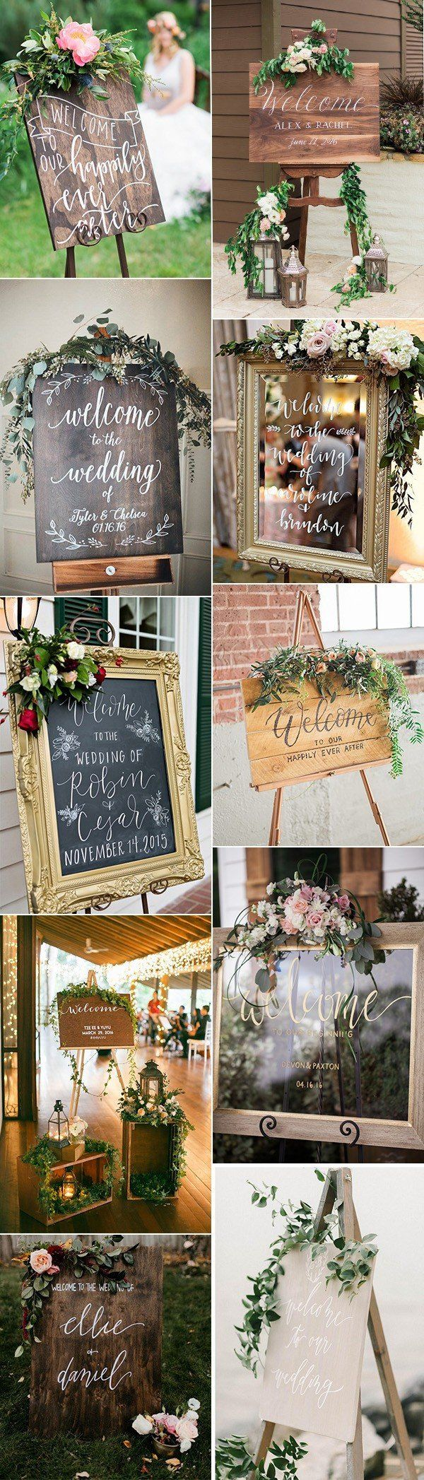 country rustic wedding welcome signs for ceremony and reception