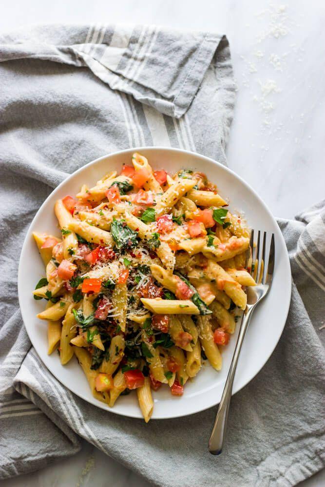 Pasta With Fresh Tomato Cream Sauce Lightened Up Little Broken Easy Pasta Recipes Tomato Tart Recipe Pasta Dishes