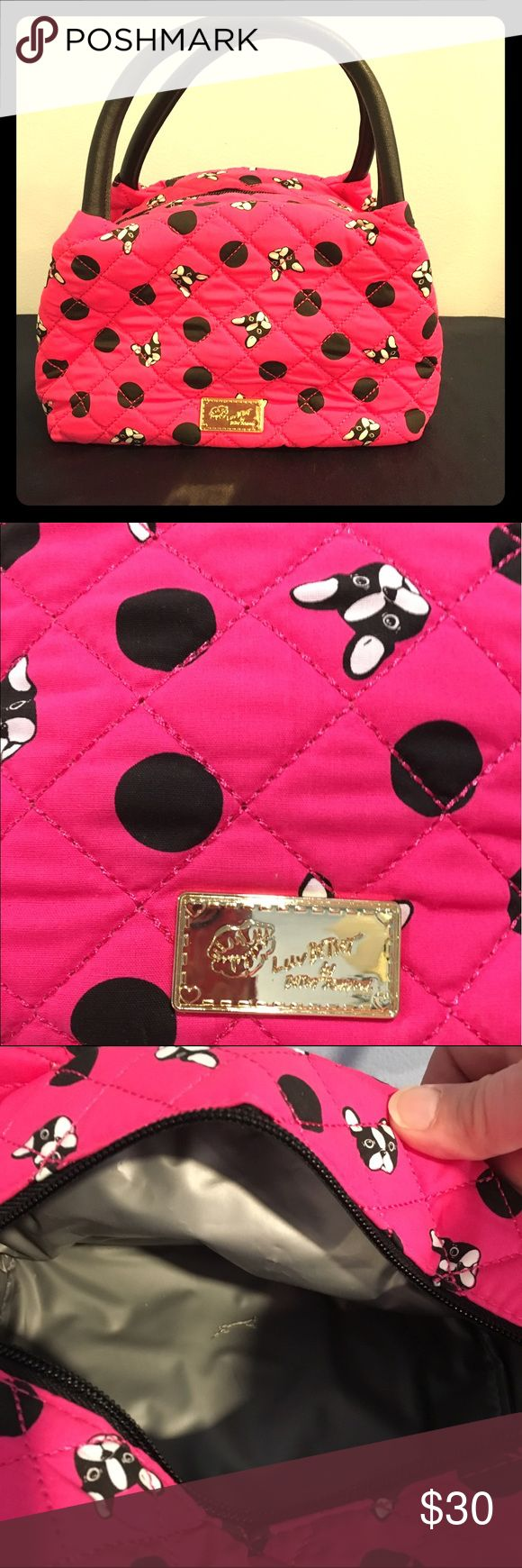 """Luv Betsey Women's or Girls Lunch Cooler/Bag Keep your lunch cool in this stylish quilted cotton with zipper & top carry handles, lunch bag. The exterior has a cute Doggy design.  Flat bottom.  Lined interior.  8 1/2""""D x 6""""H Betsey Johnson Bags Mini Bags"""
