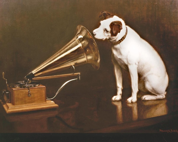 One of 24 variations of His Masters Voice painted by Francis Barraud for Emile Berliner the German born  and Washington based inventor of the flat disc record and the gramophone.