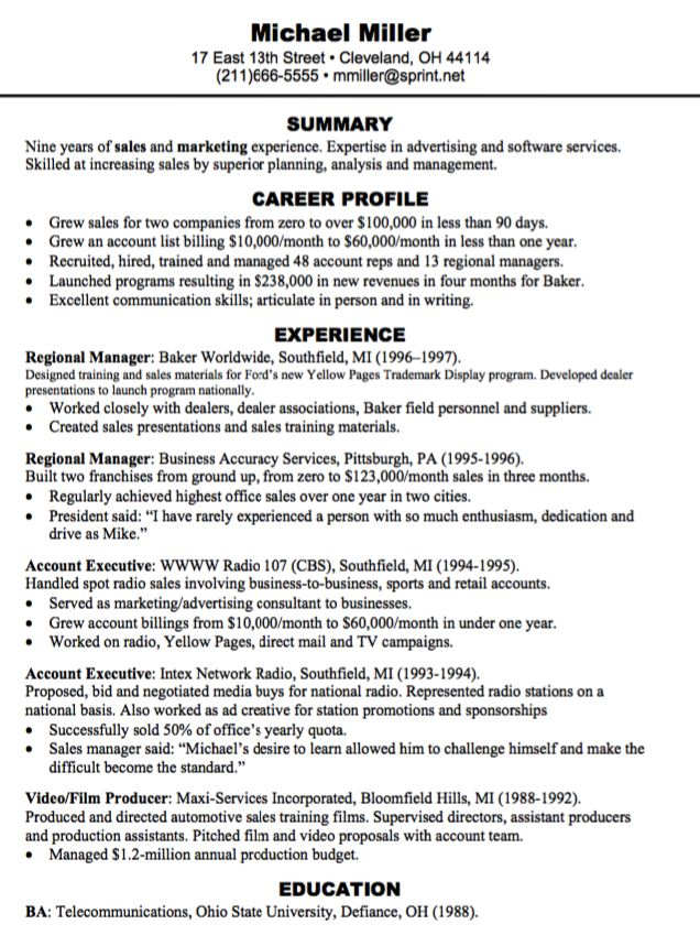 Sample Marketing Resume Summary Advertising Account Executive Senior