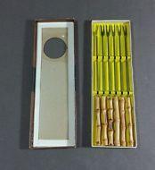 (6 pc Set) Asian Japan Bamboo Fondue Forks, Hors D'oeuvres Serving Utensils VTG