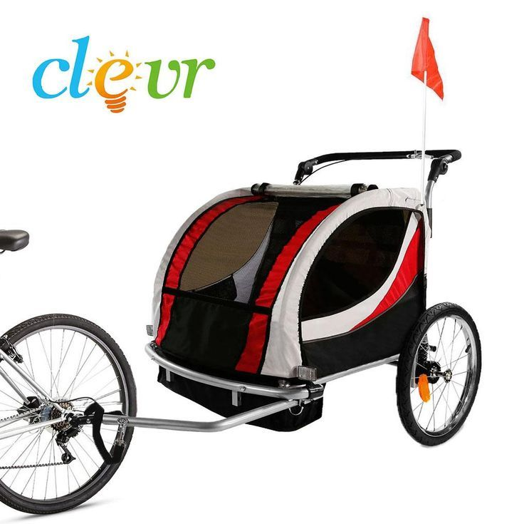 Clevr Deluxe 3 In 1 Double Seat Bike Trailer Stroller Jogger For
