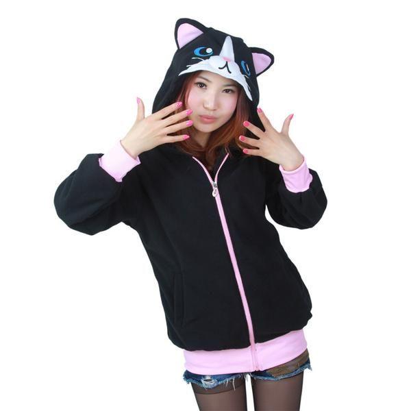 Cute Black Cat Hoodie