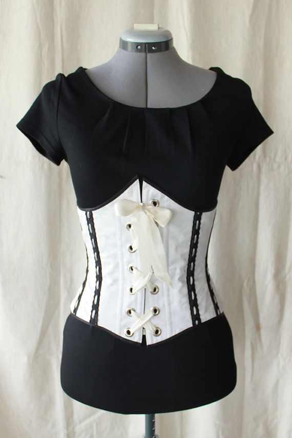 Elegant Black Lace on White Filigree Waist Cincher Corset
