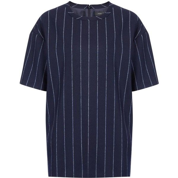 Joseph Jumbo Stripe Caleb Top in NAVY (€400) ❤ liked on Polyvore featuring tops, navy, flannel tops, navy stripe top, navy blue tops, navy striped top e slouchy tops