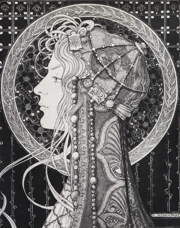 "Affiche+... Art Nouveau(stijl) Vrouw *Poster+...Jugendstil(style) Women ~van Carl Strathmann ""Astarte"" c.1900~"