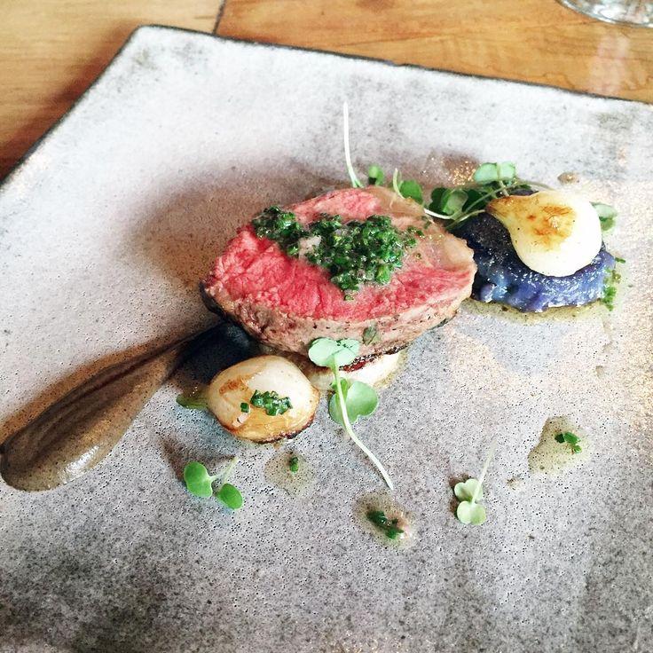 Skagit River Ranch Wagyu Strip Loin (pearl onion, purple potato, turnip, burnt eggplant puree, chimmichuri, vinaigrette) - Art of the Table