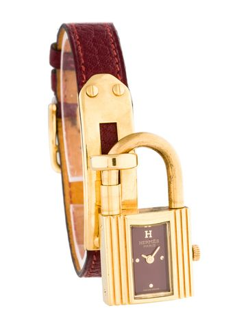 Hermes Kelly Red Epsom Leather Watch with gold-tone hardware ...