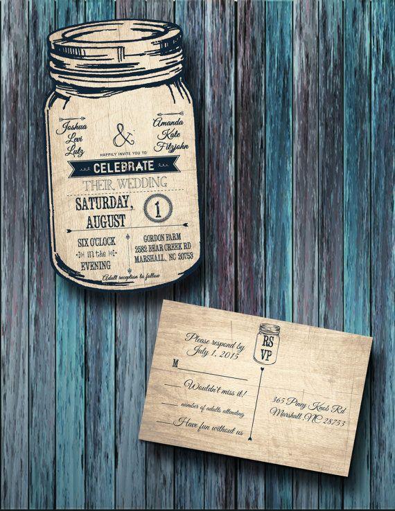 Custom Personalized Mason Jar Wedding by Socialstationery on Etsy
