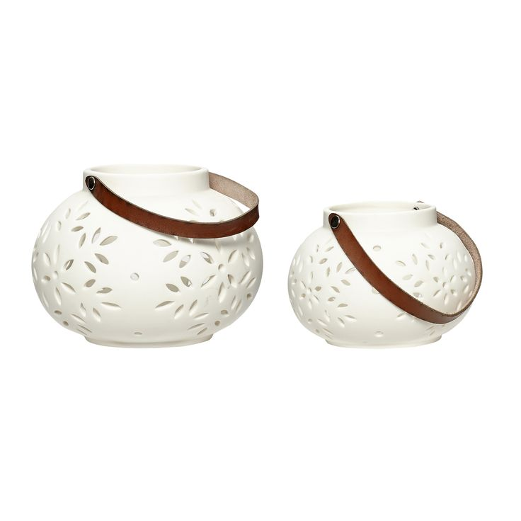 Ceramic tealight holders with leather strap. Product number: 259001 - Designed by Hübsch