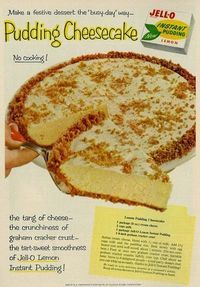 Grandma's Vintage Recipes 1 package (8 oz) cream cheese 2 cups milk 1 package Jell-O Lemon Instant Pudding 1 8-inch graham cracker crust Soften cream cheese, blend with 1/2 cup of milk. Add 1 1/2 cups milk and the pudding mix. Beat slowly with egg beater just until well mixed, about 1 minute. (Do not overbeat.) Pour at once into graham cracker crust. Sprinkle graham cracker crumbs lightly over top. Chill about an hour.