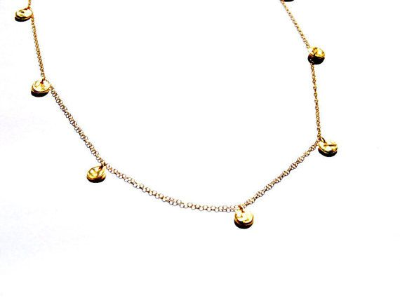 Gold drop coin necklace 14Kt Gold Chain necklace by AshaJewellery