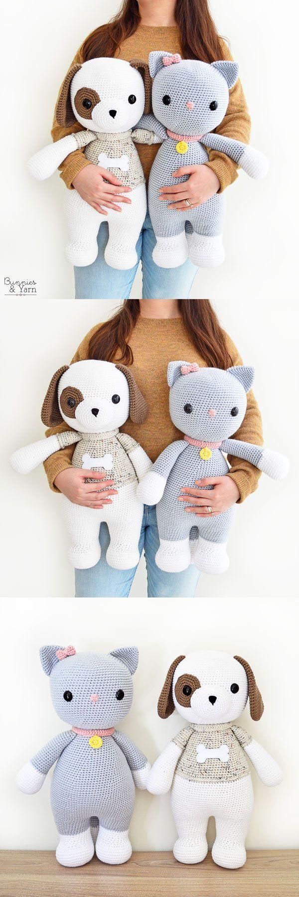 Padrões de crochê - Thomas o cão amigável e Frida o gato amigável - Amigur ...