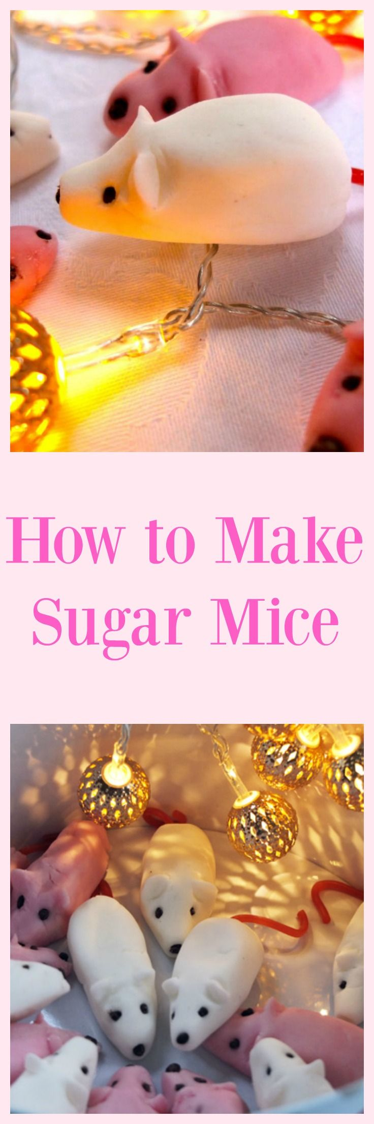 How to make sugar mice - a super simple sweet treat for kids to cook this Christmas. They make lovely gifts all wrapped up in pretty bags and tied with ribbon.