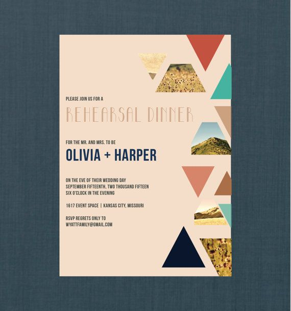 Geometric Bohemian Rehearsal Dinner Invitation by blacklabstudio