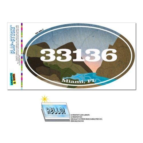 33136 Miami, FL - River Rocks - Oval Zip Code Sticker