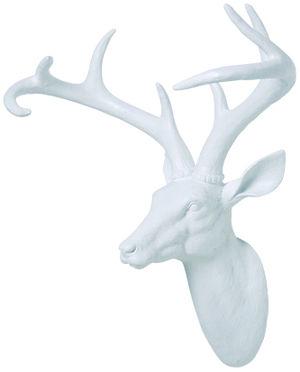 Modelo:  Deer White   Descripción:  Figura decorativa en fibra de vidrio Cabeza de Ciervo blanca