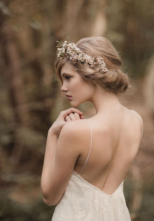 Wax flower wedding crown