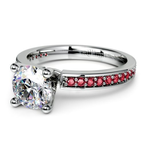 … Pave Ruby Gemstone Engagement Ring in White Gold | Image 04