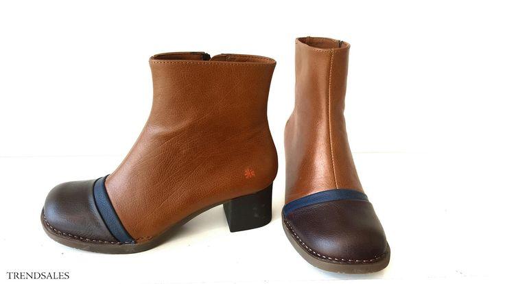 Art - Efterår 2015 - Støvlette i cognac og brun med bred snude og hæl