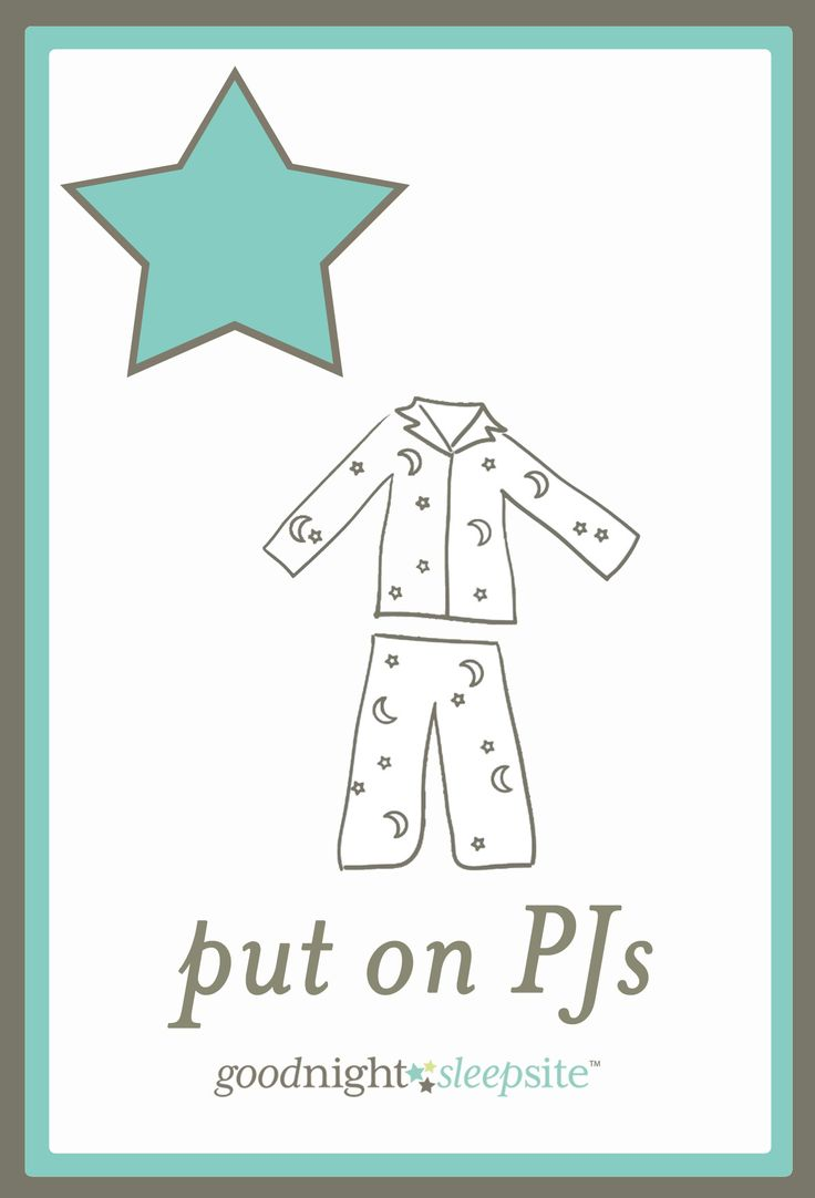 Free Printable Bedtime Routine Chart flash cards - put on pj's