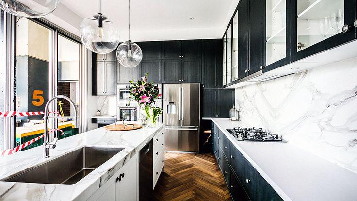 The Block Glasshouse 2014: Dee & Darren's kitchen - glass ball pendants, herringbone floor, marble benchtop, marble splashback