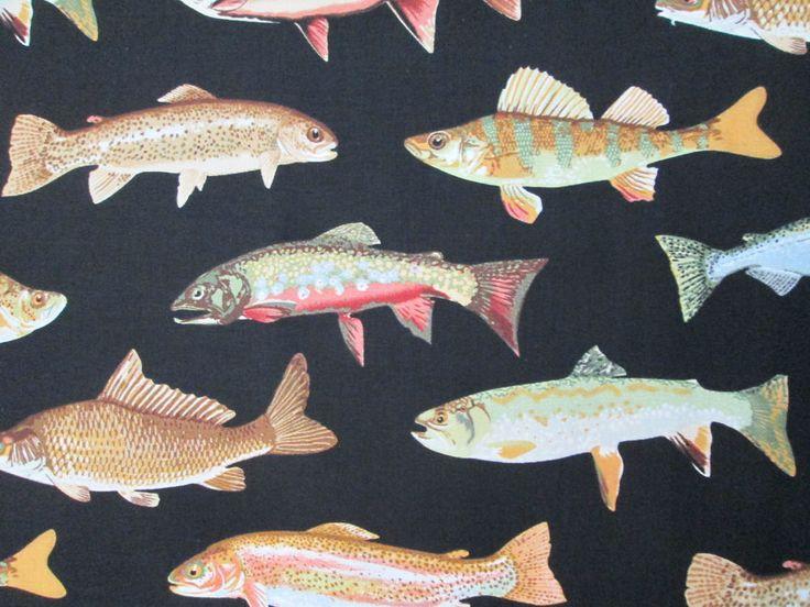 Fish Allover Deep Realistic Sea Fishing Trout Cotton ...