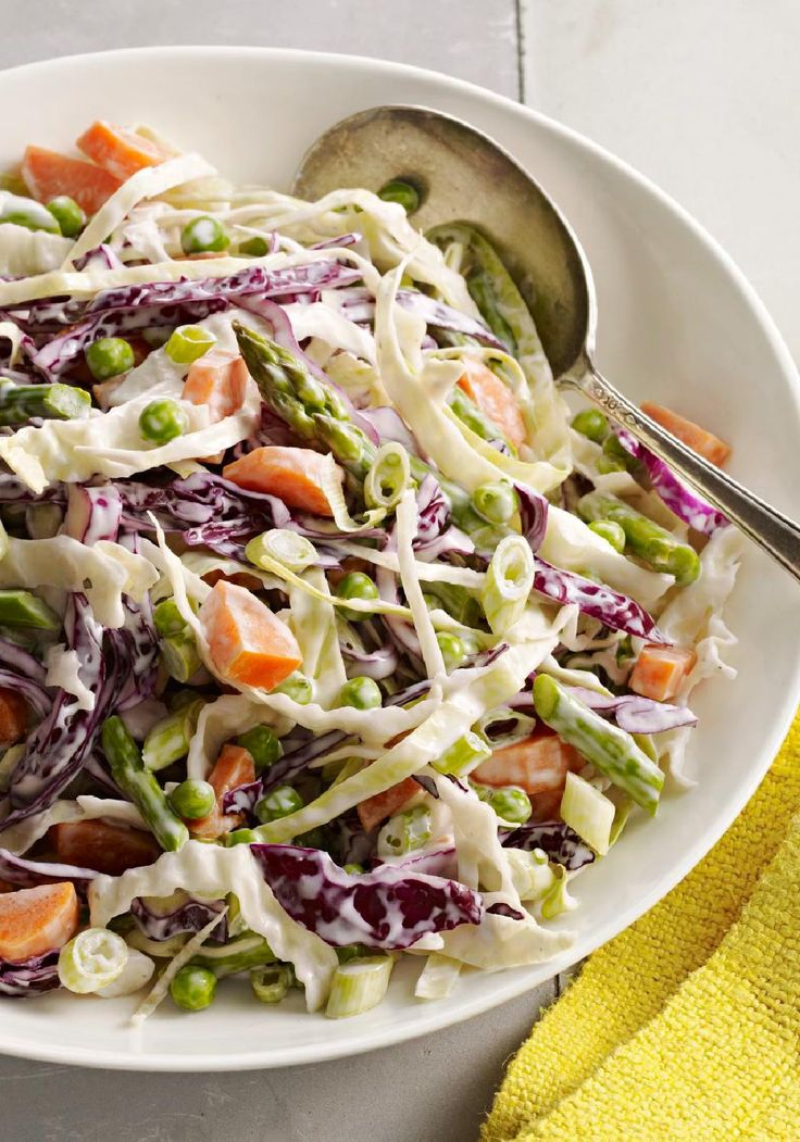 Crisp & Colorful Coleslaw -- This crisp and colorful coleslaw recipe isn't  just cabbage and dressing; it gets its color from asparagus, carrots and  peas! - 222 Best Images About COLESLAW RECIPES On Pinterest Cole Slaw