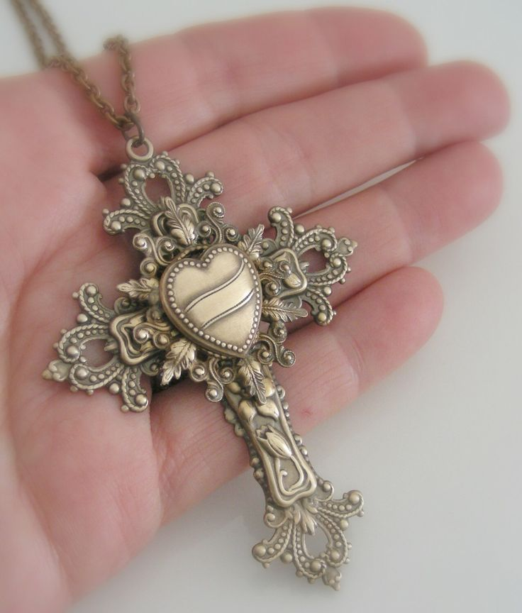 Vintage Necklace - Victorian jewelry -  Cross Necklace - Vintage brass necklace - Religious jewelry  - Catholic necklace - handmade jewelry by chloesvintagejewelry on Etsy https://www.etsy.com/listing/85901653/vintage-necklace-victorian-jewelry-cross