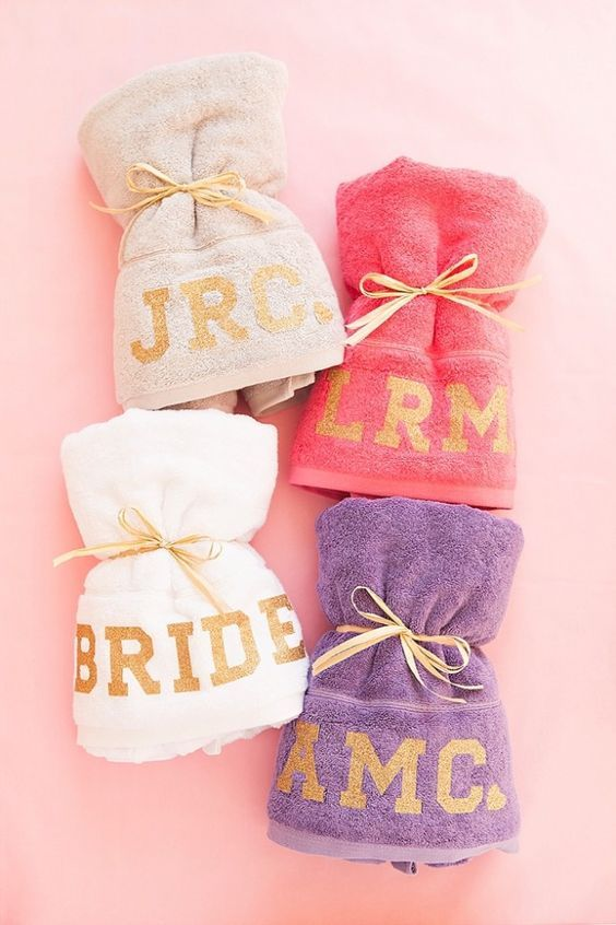 Bachelorette party gift - monogrammed beach towels {Courtesy of Brit + Co}