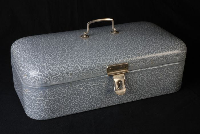 Emaille broodtrommel grijs gewolkt