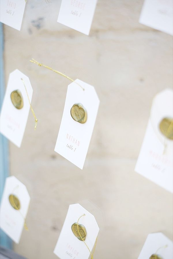 gold seal escort cards http://www.weddingchicks.com/2013/10/15/brooklyn-garden-wedding/