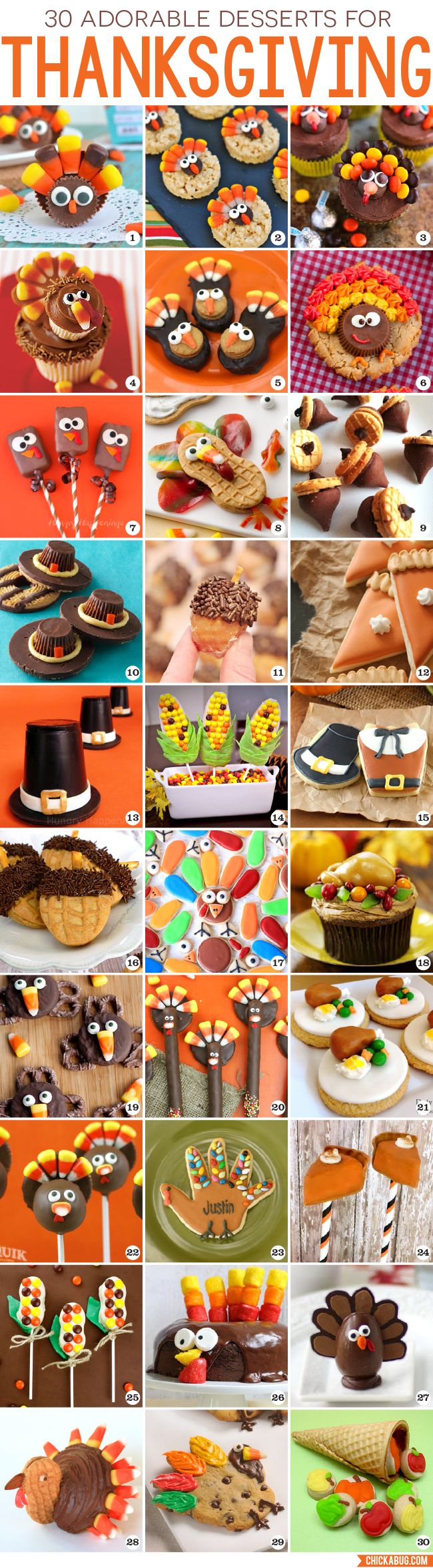 Looking for cute, fun, and easy Thanksgiving desserts? Here are 30 fabulous Thanksgiving dessert recipes! From turkeys to corn, from pilgrim hats to pumpkin pie, there's sure to be something here that fits the bill! #thanksgiving #dessert #recipes