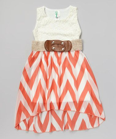 Another great find on #zulily! Coral Zigzag Belted Hi-Low Dress by Just Kids #zulilyfinds