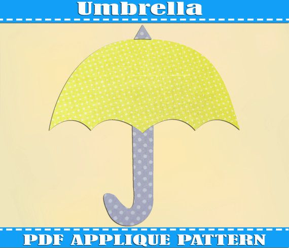 Umbrella Applique Pattern Template PDF Download Instant Fabric Shirt Design Print Brother Nursery Wall DIY Baby Shower Baby Quilt Pilot HIMYM