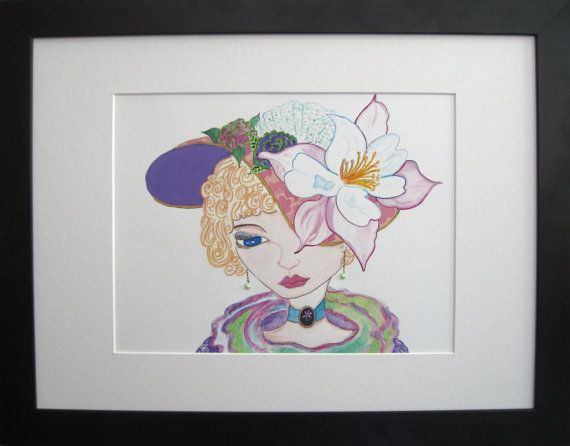 Dove flower Hat. 8.5x11 inch hand painted print on by PiskyArt