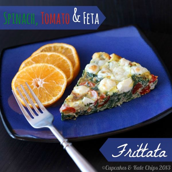 Spinach, Tomato & Feta Frittata - Cupcakes & Kale Chips. This was goo...