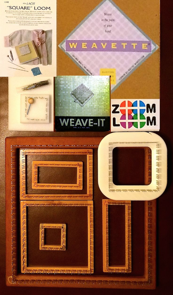 """Small Looms Mean Big Fun It all started with a little 4"""" square vintage Weave-It loom. Now I'm addicted! My collection has grown to several 2-inch and 4-inch pin looms, obtained from eBay, Etsy, ..."""