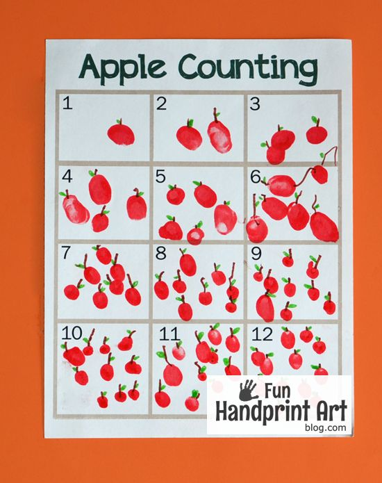 Apple Counting Activity for A is for Apple. Could also do this with P is for Pumpkin and make little pumpkins