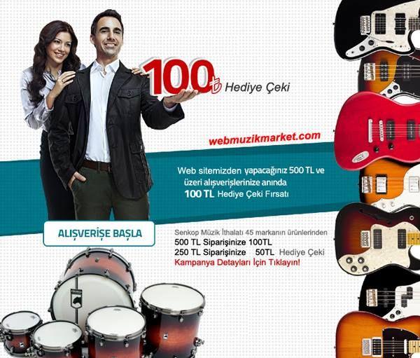 Senkop Müzik İthalatı 45 Markanın binlerce ürününden şimdi sipariş verin. 250TL harcamanıza 50TL 500TL harcamanıza 100TL Hediye Çeki Kazanın. Detaylar Burada: http://goo.gl/zCvHCq Kampanya 31 Ağustosa kadardır.