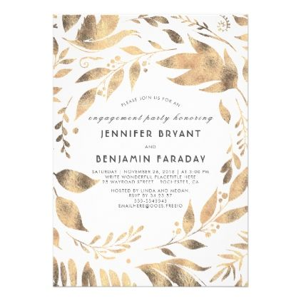 #White and Gold Leaves Laurel Fall Engagement Party Card - #engagement #party engagement partywedding showerwedding
