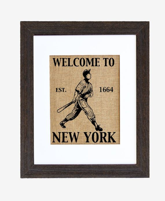 Welcome to New York Baseball Wall Decor Burlap by fiberandwater, $45.00