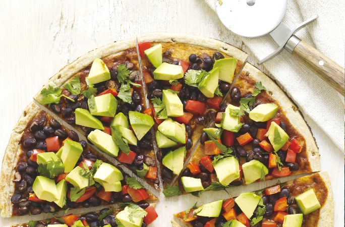 South-of-the-Border Pizza by Chef Del Sroufe. Featured on Kris Carr's website. #recipe