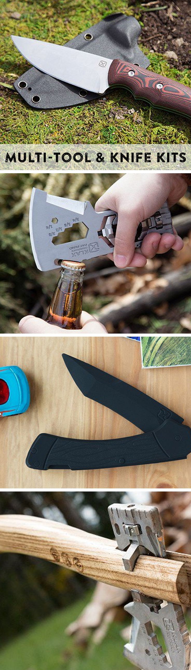 Serious about their knives—and safety. From rugged, innovative axes and knives for grown-ups to a plastic knife kit that teaches kids proper use and handling.