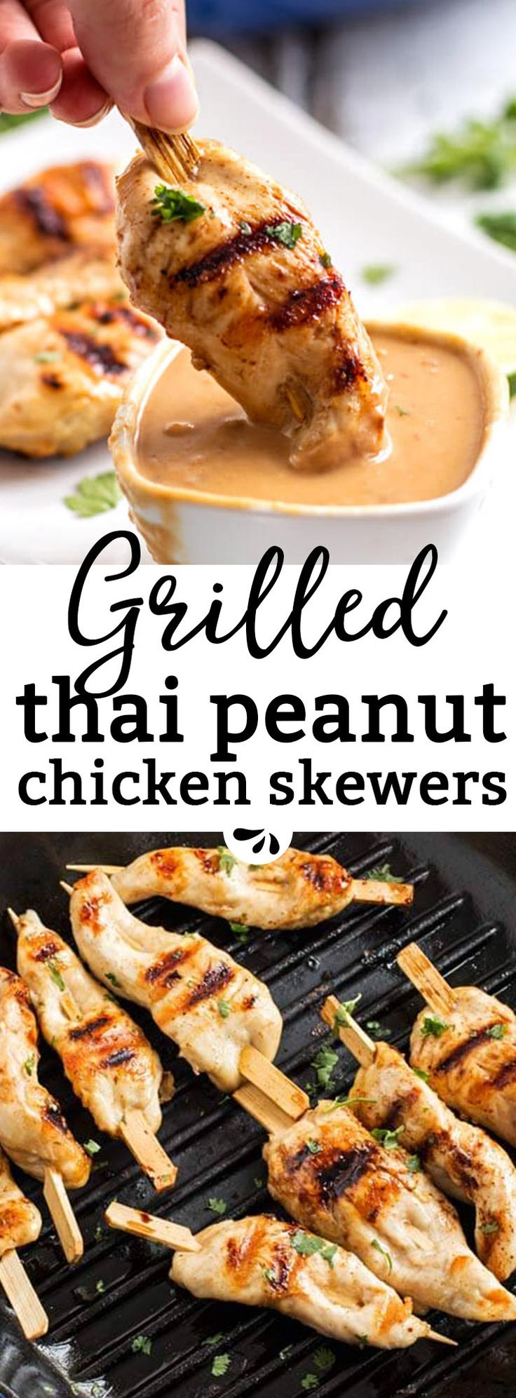 Are you looking for an easy grilled chicken recipe? These grilled chicken skewers with Thai peanut sauce are an incredible satay-inspired idea! Serve them as part of a BBQ potluck or summer picnic. They work as a simple dinner, too. The sauce is no-cook and made with just a few ingredients like peanut butter and lime juice. A simple, healthy and kid-friendly BBQ recipe everyone will enjoy!