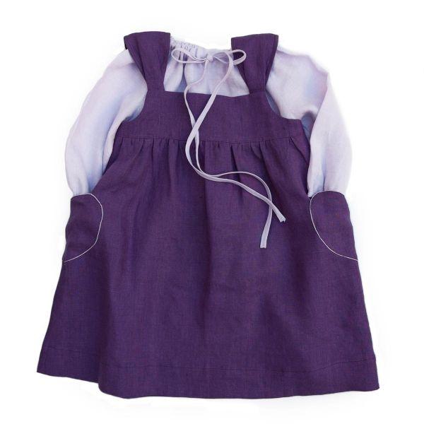 Mákvirág — Heart pocket pinafore dress purple